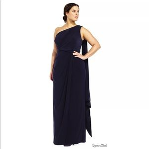 Adrianna Papell One Shoulder Jersey Halter Gown